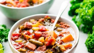 Slow Cooker Sausage Kale Soup with Sweet Potatoes
