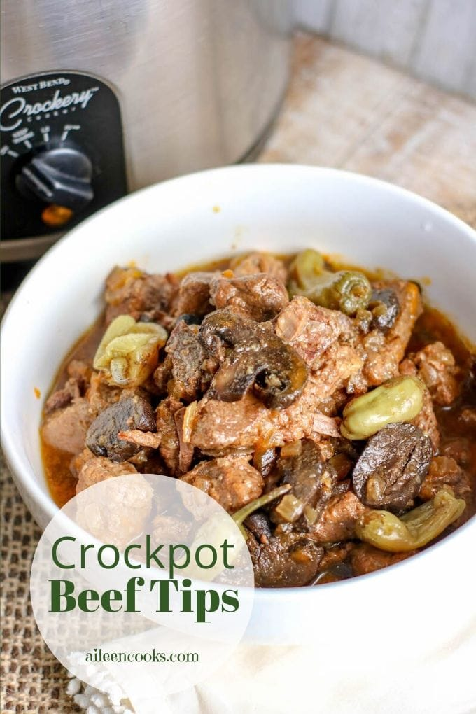 "Picture of crockpot beef tips with circle and words ""crockpot beef tips aileencooks.com"""