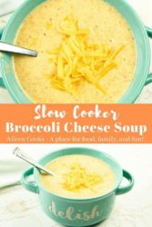 "Collage photo of broccoli cheese soup with words ""slow cooker broccoli cheese soup""."