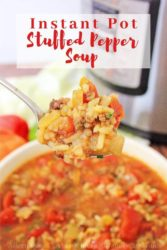 "Bowl of soup with bite on spoon and words ""instant pot stuffed pepper soup"" in red letters."
