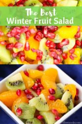 "Collage photo of fruit salad with words ""the best winter fruit salad"""
