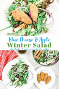 """Collage photo of winter salad with words """"blue cheese and apple winter salad"""""""