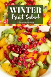 "Collage photo of fruit salad with words ""winter fruit salad""."