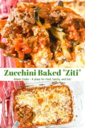 Two photos in a collage of baked zucchini.