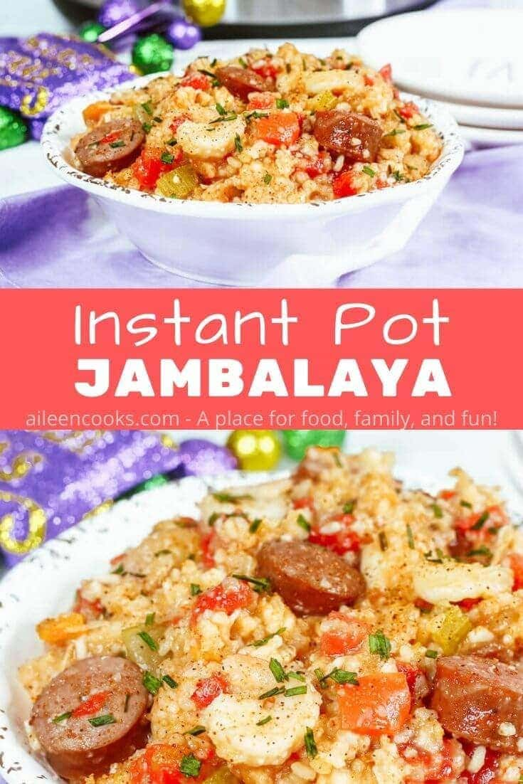 Spice up dinner time with this flavorful recipe for Instant Pot Jambalaya! This cajun pressure cooker jambalaya recipe is filled with 4 different kinds of peppers, chicken, shrimp, and andouille sausage.
