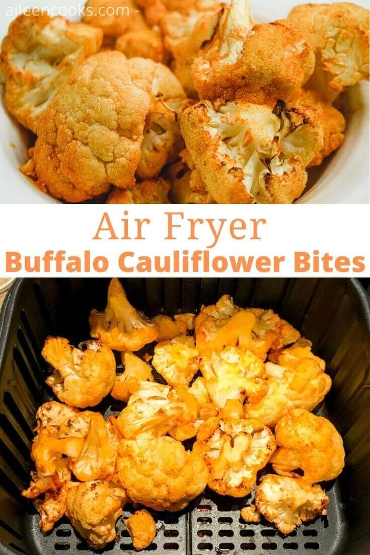 Collage photo of a bowl of buffalo cauliflower above cauliflower inside air fryer basket.
