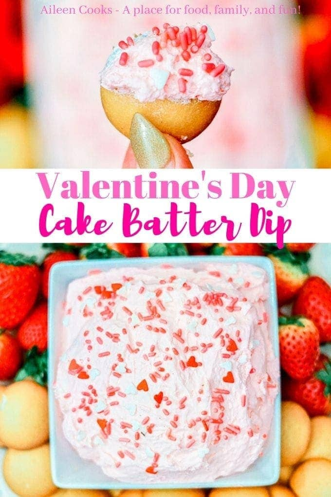 Whip up a batch of this easy and fun cake batter dip! The strawberry pudding turns it pink, making it perfect for Valentine's Day!