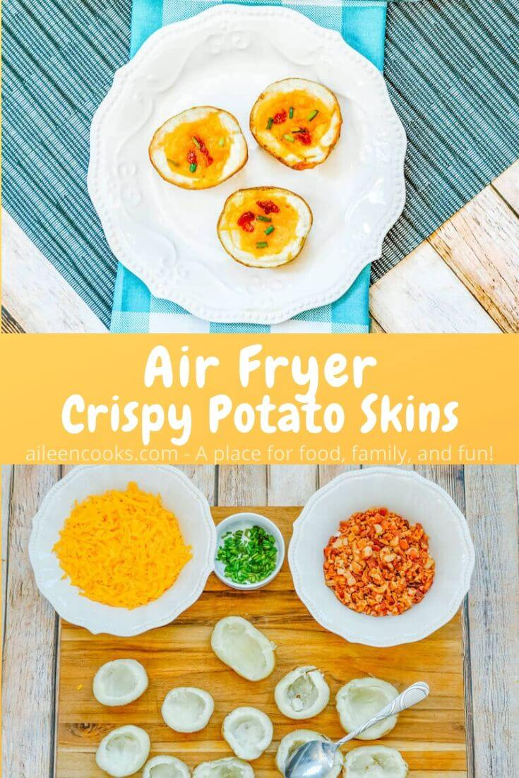 Make these easy and crowd pleasing air fryer potato skins with just 4 ingredients! You are not going to believe how simple it is to make your own homemade crispy potato skins at home.