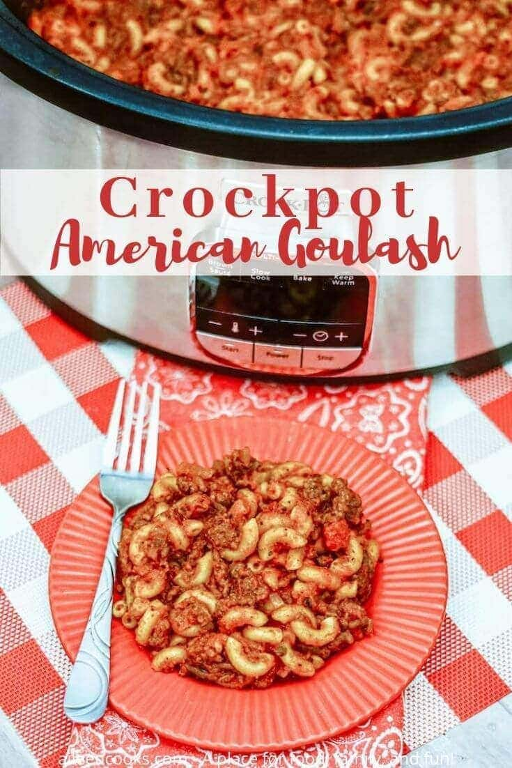 This comfort food classic, crockpot goulash is a mix of hamburger and macaroni cooked with tomatoes, spices, and cheese - making it the perfect satisfying weeknight dish with minimal work!