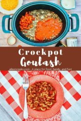 "An overhead shot of goulash ingredients inside crockpot above a photo of a plate of goulash with words ""crockpot goulash""."