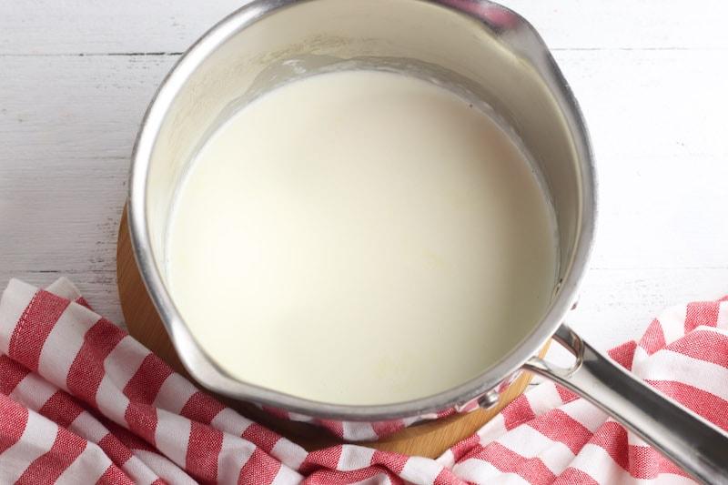Cream in a sauce pan.