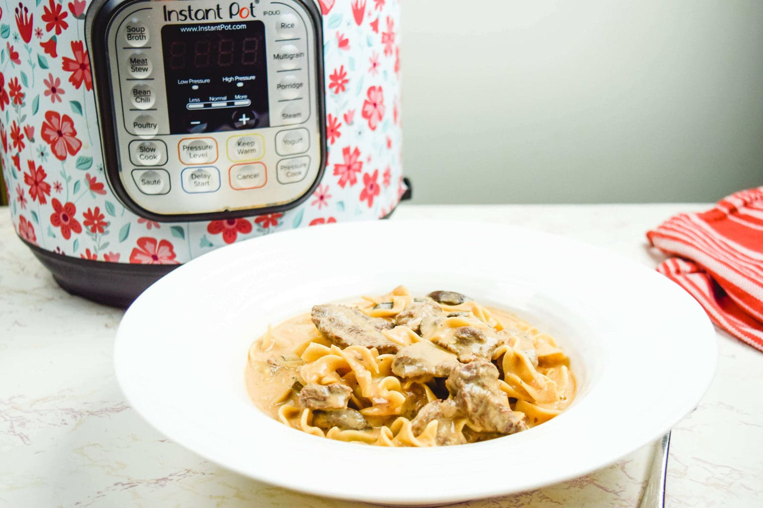 A bowl of beef stroganoff in front of an instant pot.