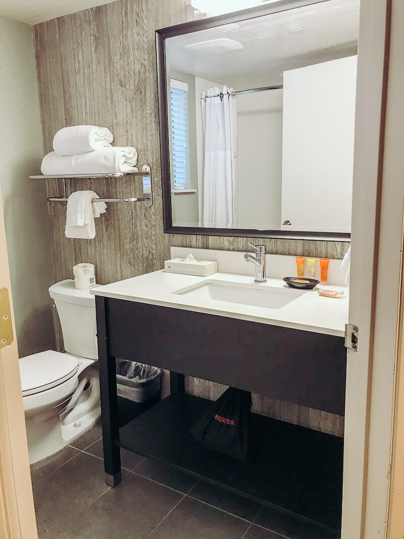 Modern bathroom vanity next to a toilet.