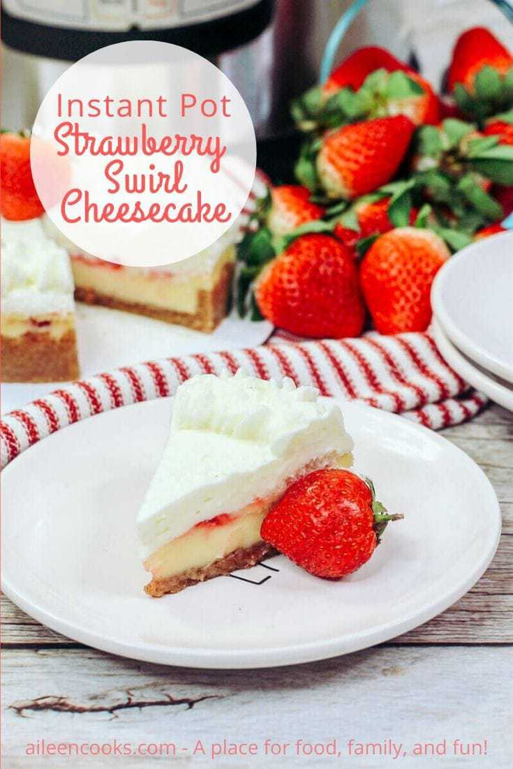 You are going to want to make this silky creamy instant pot strawberry cheesecake! It's a New York style cheesecake with a scratch-made strawberry sauce swirled inside.