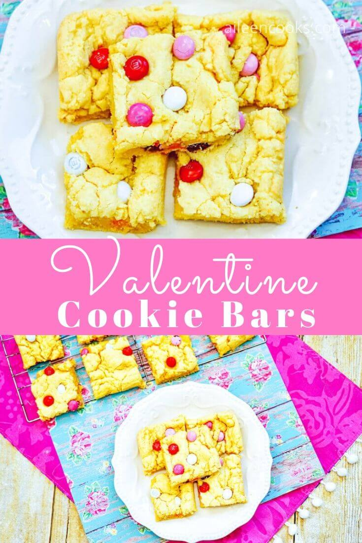 Make a sweet treat for your family and friends this year with these Valentine's Day Cookie Bars! They are so easy to make cake mix cookie bars with adorable red, pink, and white M&Ms added to the mix!