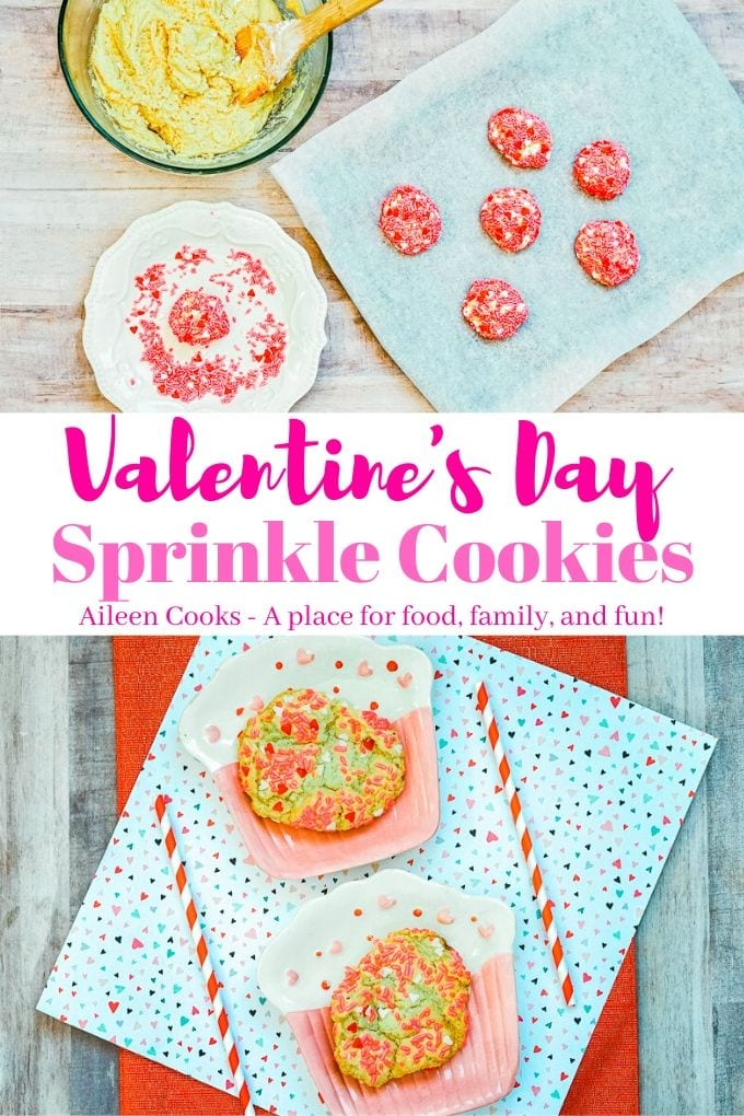 Collage photo of Valentine's Day sprinkle cookies.