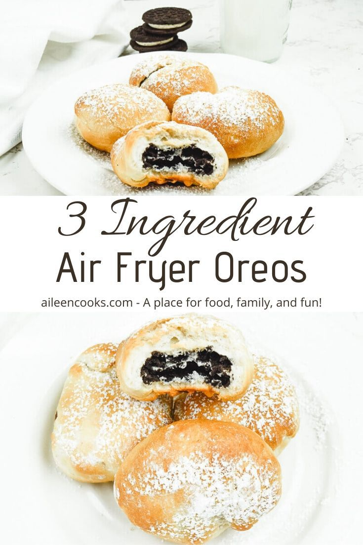 Collage photo of two pictures of air fried Oreos on a white plate