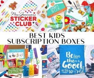 Collage photo of subscription boxes for kids.