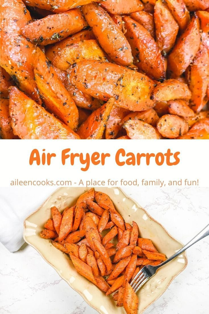 Collage photo of close up of air fried carrots and dish of carrots.