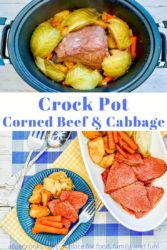 Collage photo of corned beef inside crockpot and the meal served on a blue plate.