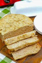 Close up of sliced crock pot bread.
