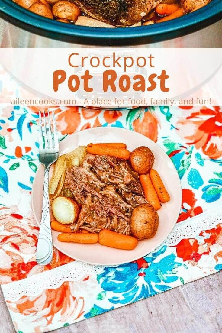 Make this flavorful crockpot roast with gravyrecipe for dinner tonight! It's a pot roast braised on low in beef broth and beer and then topped with a flavorful gravy. The carrots and potatoes cook together, making it a complete meal.