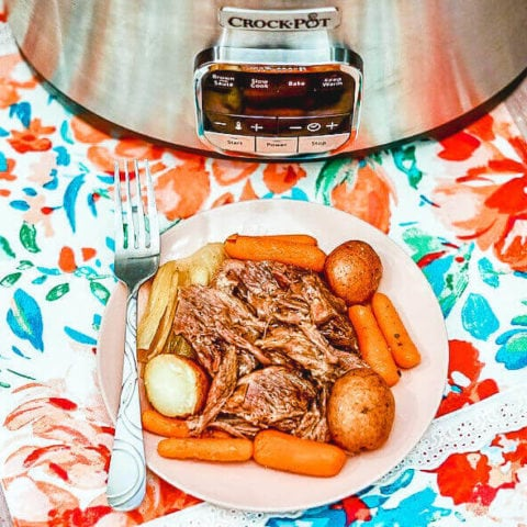 A plate of roast beef with carrots and potatoes in front of a crockpot.