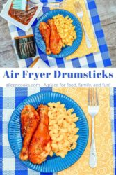 Collage photo of a plate of air fryer drumsticks and a close up of drumsticks.