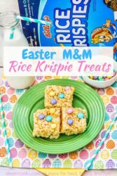 "Rice Krispie treats with Purple, Blue, and Yellow M&M's on top and the words ""Easter M&M Rice Krispie Treats"" in pink letters."