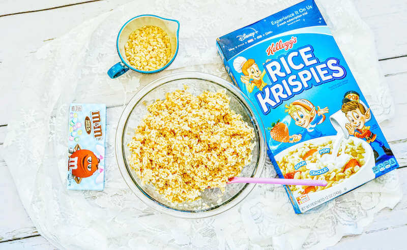 Rice Krispies mixed with melted marshmallows.