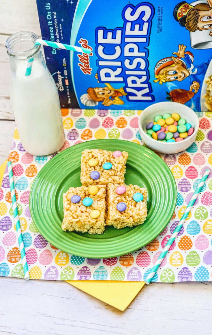 Celebrate Easter with these yummy and festive Easter Rice Krispie Treats! They are so easy to make with just a handful of ingredients.