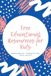 "A pink and blue graphic with the words ""free educational resources for kids""."