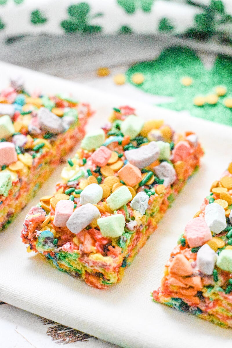 Close up of fruity pebbles cereal bar with rainbow marshmallows.