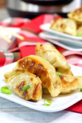 Close up of pot stickers on a white plate with red cloth napkins in the background.