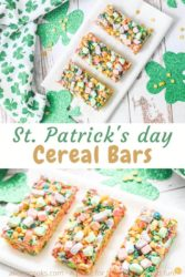 Collage photo of two pictures of cereal bars next to shamrock decorations.