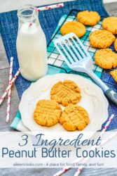 "A white plate of peanut butter cookies with the words ""three ingredient peanut butter cookies"" in blue letters."