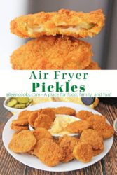 Collage photo of air fryer pickles on a plate.