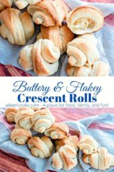 "Collage photo of two stacks of crescent rolls and the words ""buttery & Flakey Crescent Rolls"" in blue lettering."