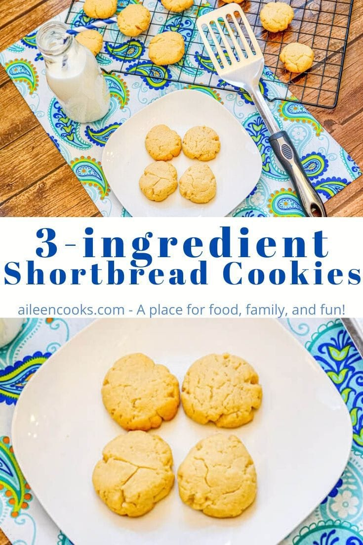 """Collage photo of shortbread cookies with words """"3 ingredient shortbread cookies"""" in blue letters."""