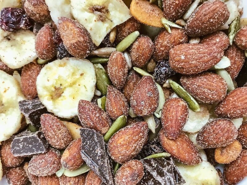 Close up of spicy trail mix.