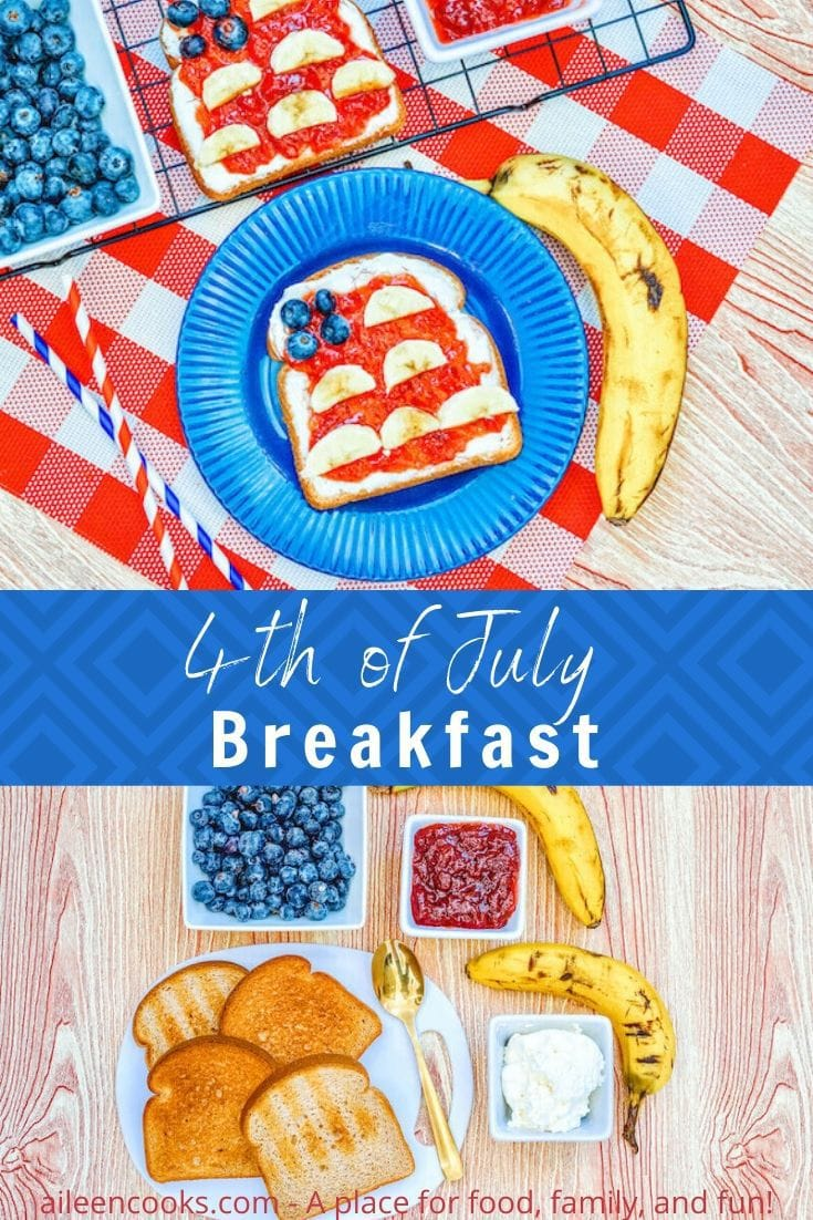 """Collage photo of a blue plate with a piece of American Flag Toast above a picture of the ingredients to make Flag toast and the words """"4th of July Breakfast"""" in white lettering on a blue background."""
