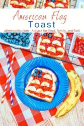 """A blue plate with a piece of toast decorated to look like a flag and the words """"American Flag Toast"""" in red and blue lettering."""