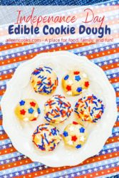 "A white plate of sugar cookie dough with the words ""independance day edible cookie dough"" in red and blue lettering."