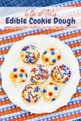 "A white plate of sugar cookie dough with sprinkles and the words ""4th of July edible cookie dough""."