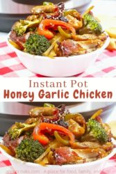 """Collage photo of two pictures of honey garlic chicken in white bowls with the words """"instant pot honey garlic chicken"""" in brown lettering in the center of the two images."""