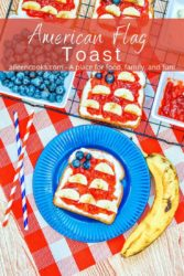 """A blue plate with a piece of toast decorated in red white and blue with the words """"American Flag Toast"""" in white lettering."""