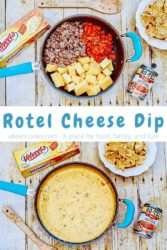"Collage photo of Rotel cheese dip ingredients inside sauce pan over an image of cooked cheese dip in a sauce pan with the words ""Rotel Cheese Dip"" in blue letters in the center of the two images."