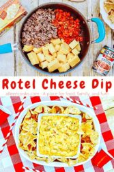 "A collage photo of the ingredients for Rotel cheese dip in a blue sauce pan over an image of the dip and chips inside an oval serving dish with the words ""Rotel Cheese Dip"" in red letters in the center of the two images."