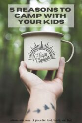 "A hand holding up a coffee cup in front of a forest with the words ""5 reasons to camp with your kids"""