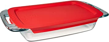 Pyrex Easy Grab Glass Oblong Baking Dish with Red Plastic Lid (2-quart)
